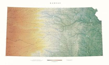 Buy map Kansas, Physical, laminated by Raven Press in Kansas Map Store