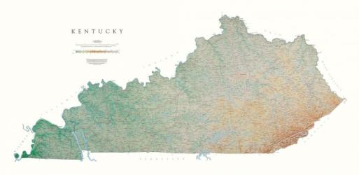 Buy map Kentucky, Physical, laminated by Raven Press from Kentucky Maps Store