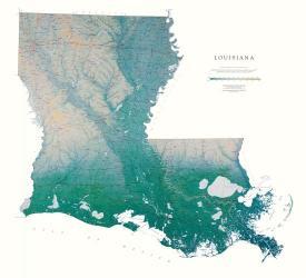Buy map Louisiana, Physical, laminated by Raven Press from Louisiana Maps Store