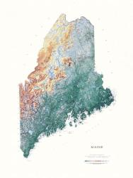 Buy map Maine, Physical, laminated by Raven Press from Maine Maps Store