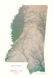 Buy map Mississippi, Physical, laminated by Raven Press from Mississippi Maps Store