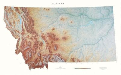 Buy map Montana, Physical, laminated by Raven Press from Montana Maps Store