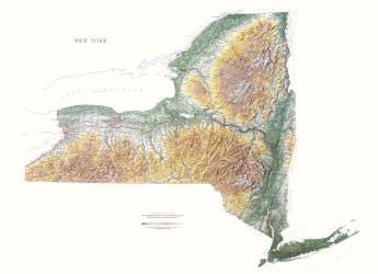 Buy map New York, Physical, laminated by Raven Press from New York Maps Store