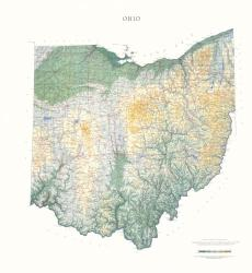 Buy map Ohio, Physical, laminated by Raven Press from Ohio Maps Store