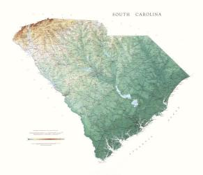 Buy map South Carolina, Physical, laminated by Raven Press