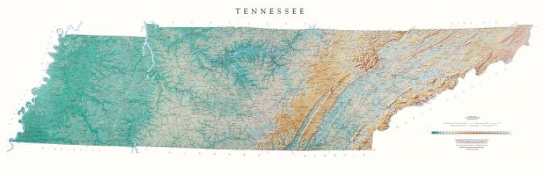 Buy map Tennessee, Physical, laminated by Raven Press from Tennessee Maps Store