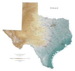 Buy map Texas, Physical, laminated by Raven Press from Texas Maps Store