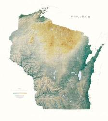 Buy map Wisconsin, Physical, laminated by Raven Press from Wisconsin Maps Store