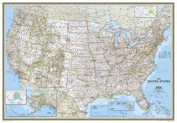 Buy map United States, Classic, Enlarged and Laminated by National Geographic Maps from United States Maps Store