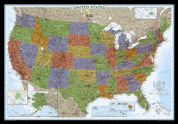 Buy map United States, Decorator, Enlarged and Laminated by National Geographic Maps from United States Maps Store