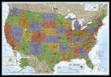 Buy map United States, Decorator, Enlarged and Tubed by National Geographic Maps from United States Maps Store