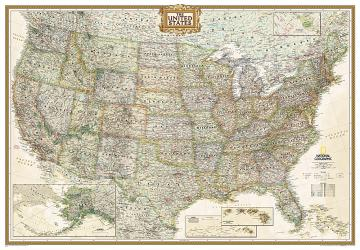 Buy map United States, Executive, Enlarged and Tubed by National Geographic Maps from United States Maps Store