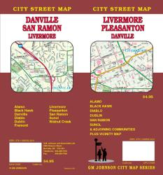 Buy map Livermore, Pleasanton and Danville, California by GM Johnson from California Maps Store