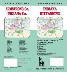 Buy map Kittanning, Armstrong, and Indiana County, PA by GM Johnson from Indiana Maps Store