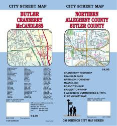 Buy map Butler and Northern Allegheny Counties, Pennsylvania by GM Johnson