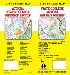 Buy map State College, Altoona, Huntingdon and Lewistown, Pennsylvania by GM Johnson