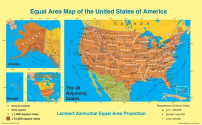 Buy map United States, Equal Area Projection, laminated by ODT, Inc. from United States Maps Store