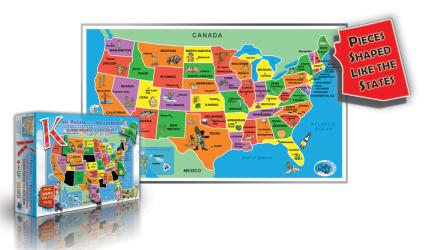 Buy map Kids Puzzle of the USA, 55 piece by Broader View from United States Maps Store