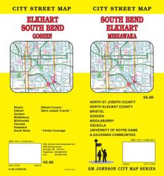 Buy map South Bend, Elkhart and Mishawaka, Indiana by GM Johnson from Indiana Maps Store