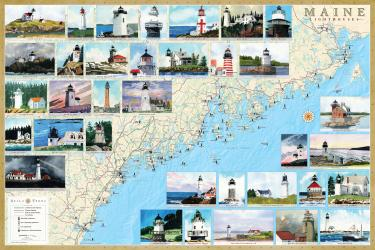 Buy map Maine Lighthouses Map - Laminated Poster by Bella Terra Publishing LLC from Maine Maps Store
