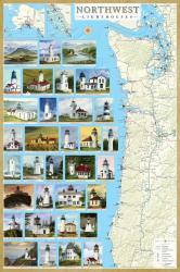 Buy map Northwest Lighthouses Map - Laminated Poster by Bella Terra Publishing LLC from United States Maps Store