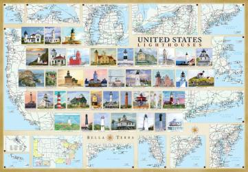 Buy map United States Lighthouses Map - Laminated Poster by Bella Terra Publishing LLC from United States Maps Store