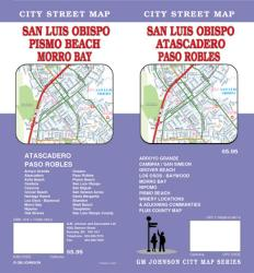 Buy map San Luis Obispo, Atascadero and Paso Robles, California by GM Johnson from California Maps Store