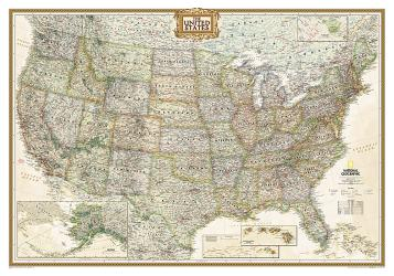 Buy map United States, Executive, Sleeved by National Geographic Maps from United States Maps Store