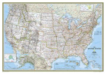 Buy map United States, Classic, Enlarged and Sleeved by National Geographic Maps from United States Maps Store