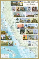 Buy map California and Hawaii Lighthouses Map, Laminated Poster by Bella Terra Publishing LLC from United States Maps Store
