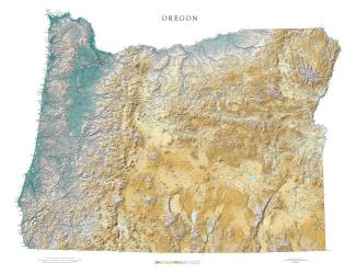 Buy map Oregon, Physical by Raven Press from Oregon Maps Store