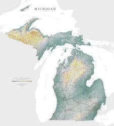 Buy map Michigan, Physical, laminated by Raven Press from Michigan Maps Store