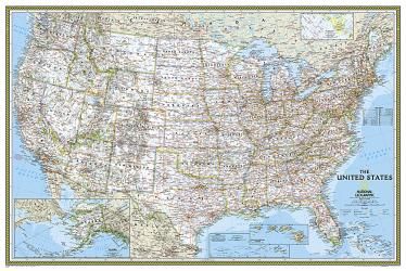 Buy map United States, Classic, Poster-sized, Sleeved by National Geographic Maps from United States Maps Store