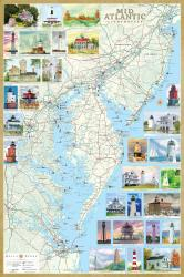 Buy map Mid-Atlantic Lighthouses Map, Laminated Poster by Bella Terra Publishing LLC from United States Maps Store