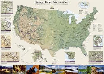 Buy map United States National Parks, Laminated by National Geographic Maps from United States Maps Store