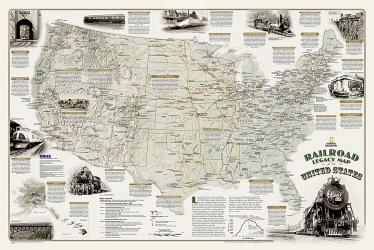 Buy map Americas Scenic Railways, Sleeved by National Geographic Maps from United States Maps Store
