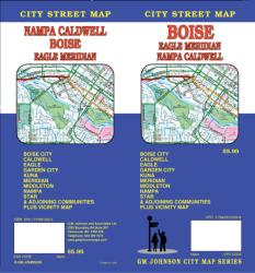 Buy map Boise, Eagle, Meridian, Nampa and Caldwell, Idaho by GM Johnson from Idaho Maps Store
