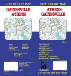Buy map Athens and Gainesville, Georgia by GM Johnson from Georgia Maps Store