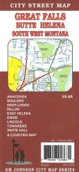Buy map Great Falls, Butte, Helena and South West Montana by GM Johnson in Montana Map Store