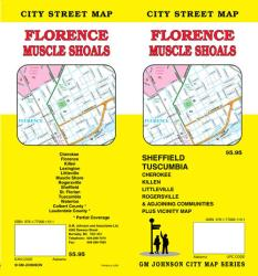 Buy map Florence and Muscle Shoals, Alabama by GM Johnson from Alabama Maps Store