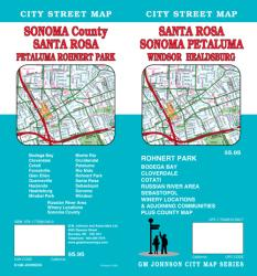 Buy map Santa Rosa, Sonoma, Petaluma, Windsor and Healdsburg, California by GM Johnson from United States Maps Store