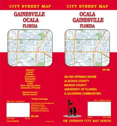 Buy map Ocala and Gainesville, Florida by GM Johnson from Florida Maps Store
