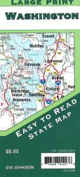 Buy map Washington State, Large Print by GM Johnson from Washington Maps Store
