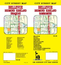 Buy map Bellevue, Redmond, Kirkland and Sammamish, Washington by GM Johnson from Washington Maps Store