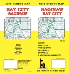 Buy map Saginaw and Bay City, Michigan by GM Johnson in Michigan Map Store