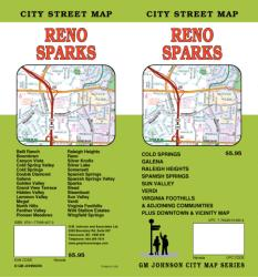 Buy map Reno and Sparks, Nevada by GM Johnson from Nevada Maps Store