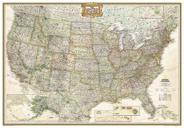 Buy map United States, Executive, Enlarged and Sleeved by National Geographic Maps from United States Maps Store