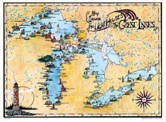 Buy map Great Lakes, Lighthouse Map by Avery Color Studios from United States Maps Store