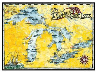 Buy map Great Lakes, Shipwreck Map by Avery Color Studios from United States Maps Store