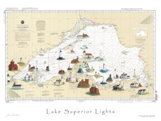 Buy map Lake Superior, Lighthouse Map by Avery Color Studios from United States Maps Store